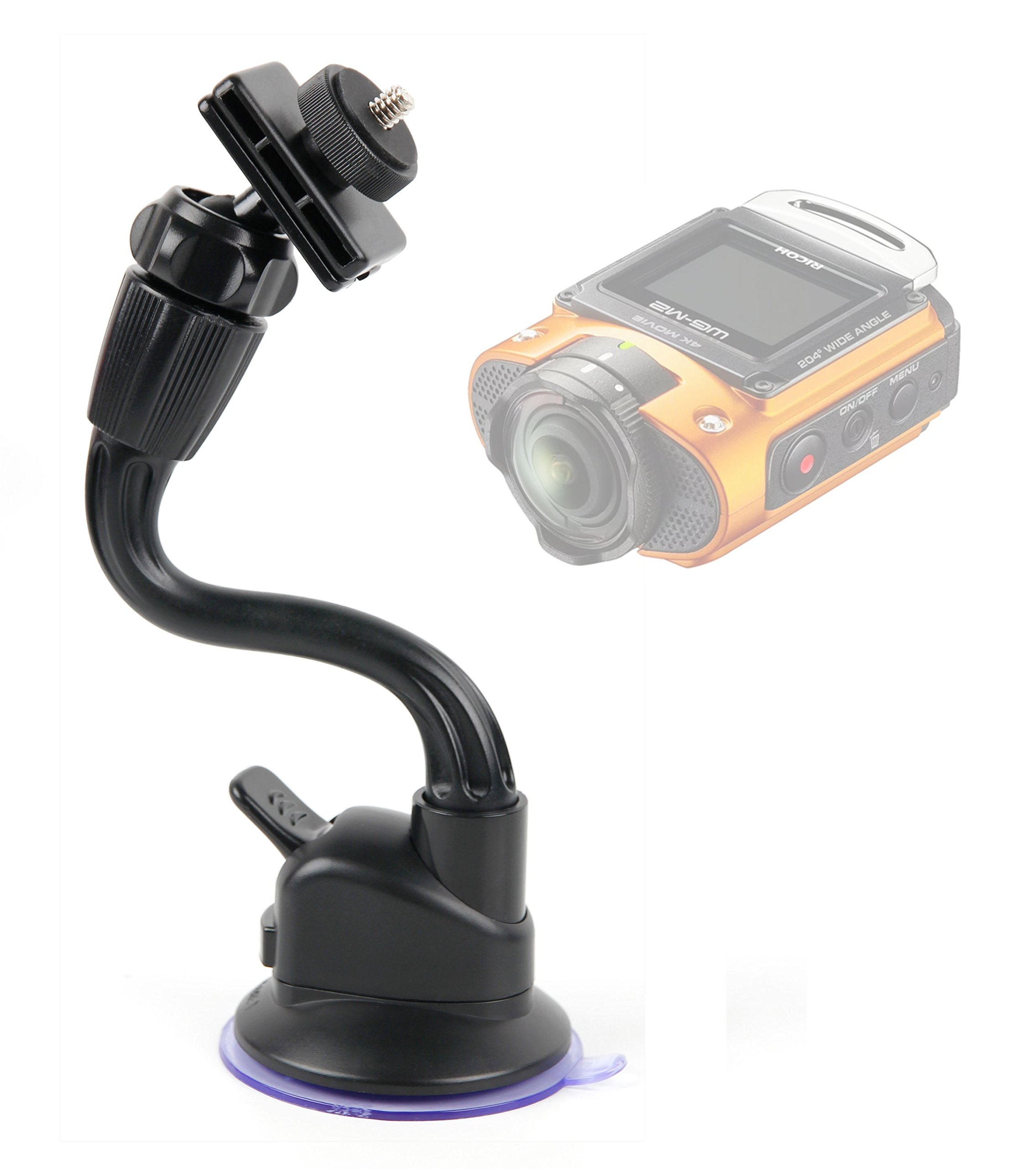 DURAGADGET in Car Anti-Shake Flexible Arm Suction Mount - Compatible with The Ricoh WG-M2 | WG-M1 Action Cameras