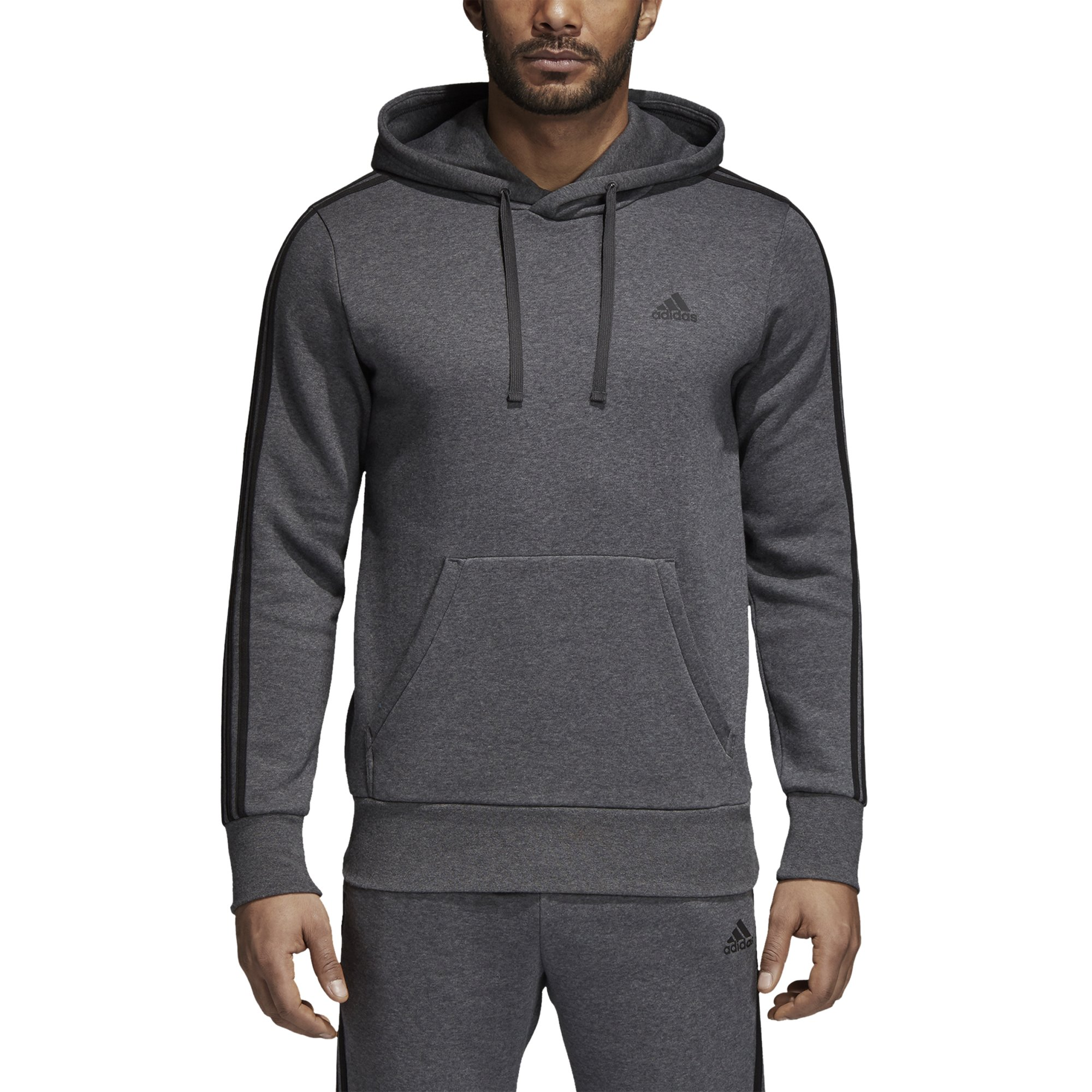 adidas Men's Essentials 3-Stripe Pullover Hoodie, Dark Grey Heather/Black, Large