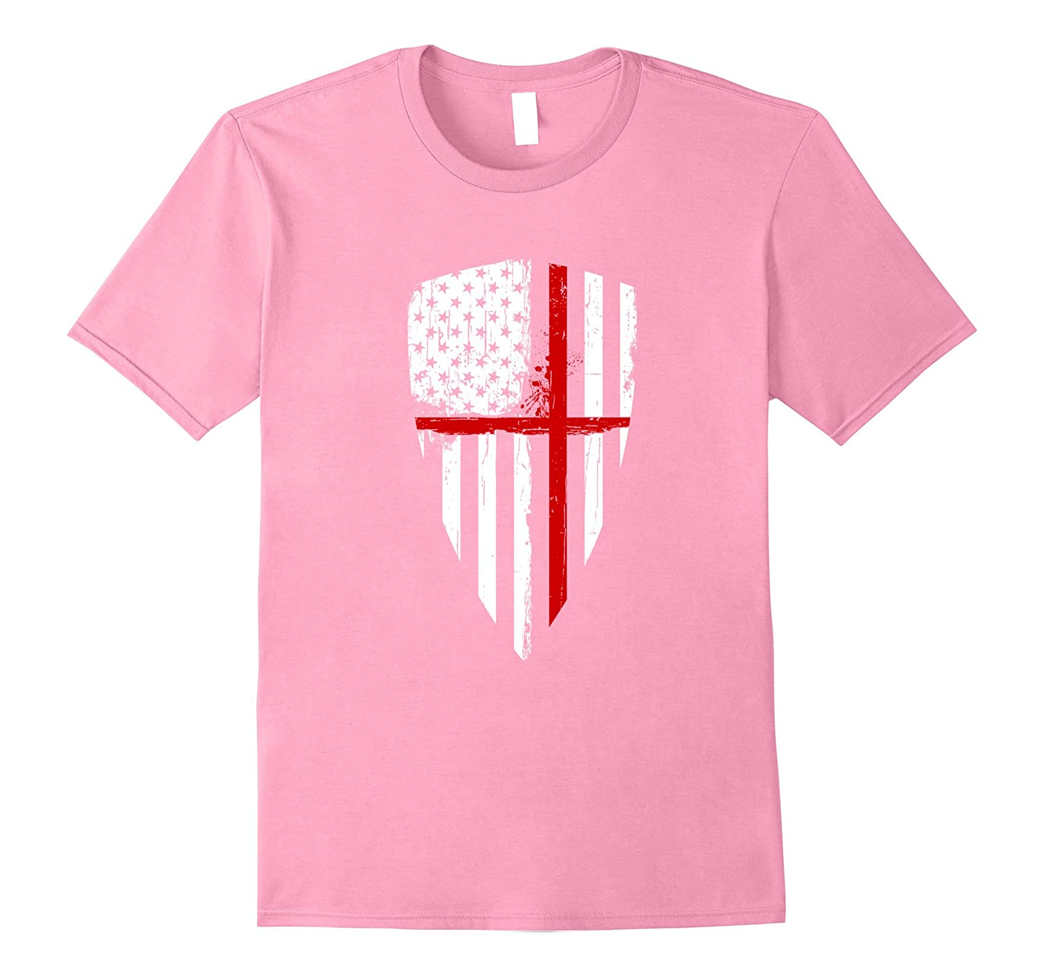 Red Line Crusader American Flag Shield Graphic Shirt-fa