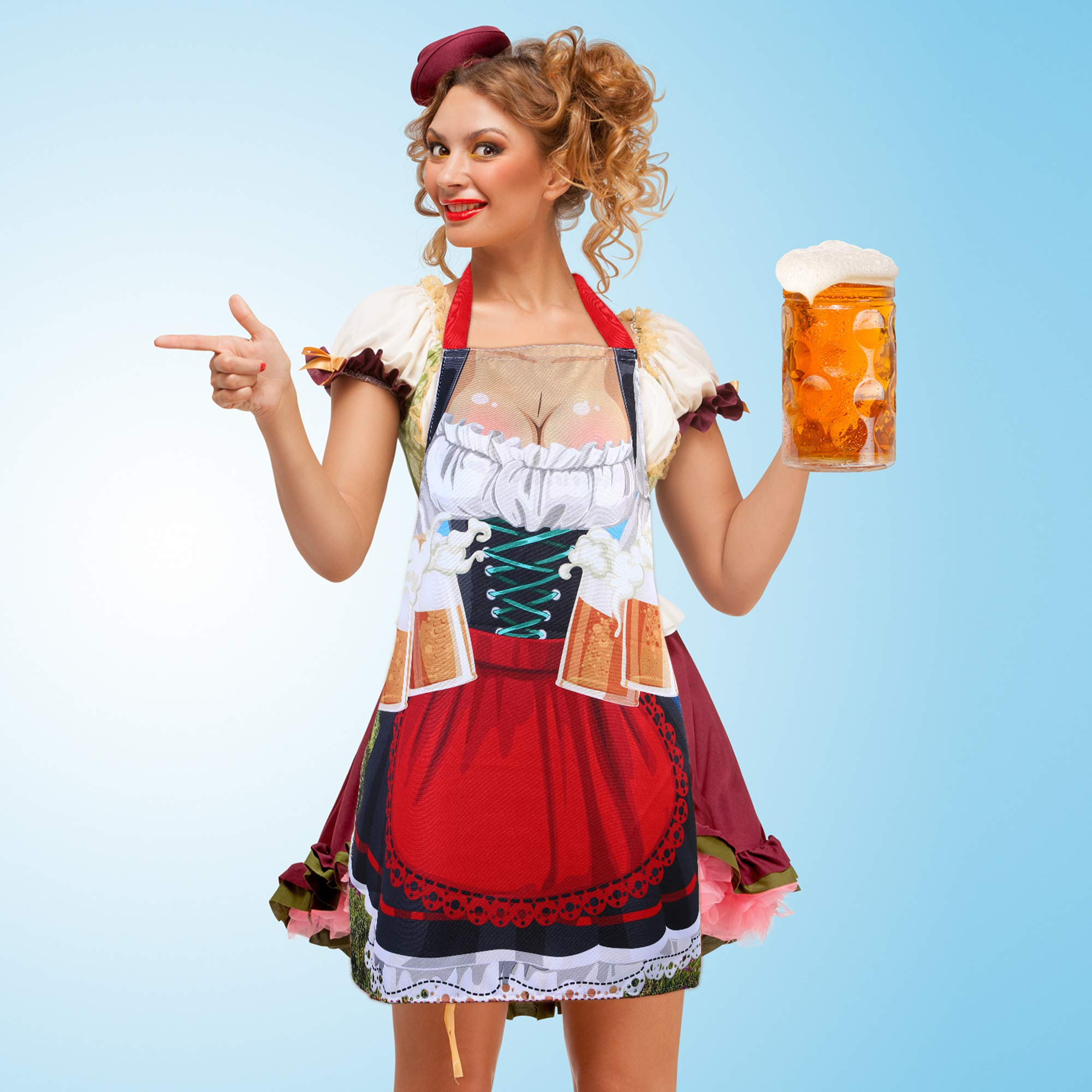 Blulu Oktoberfest Dress Apron, Bavarian Fabric Novelty Fraulein Apron with Long Ties for Oktoberfest Party Supplies and Decorations, 30 x 27 Inch by Blulu