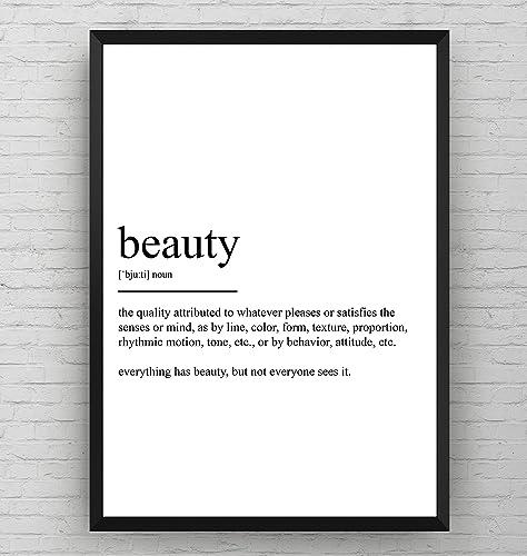 Amazon.com: Beauty Definition Print Poster Black and White Salon ...
