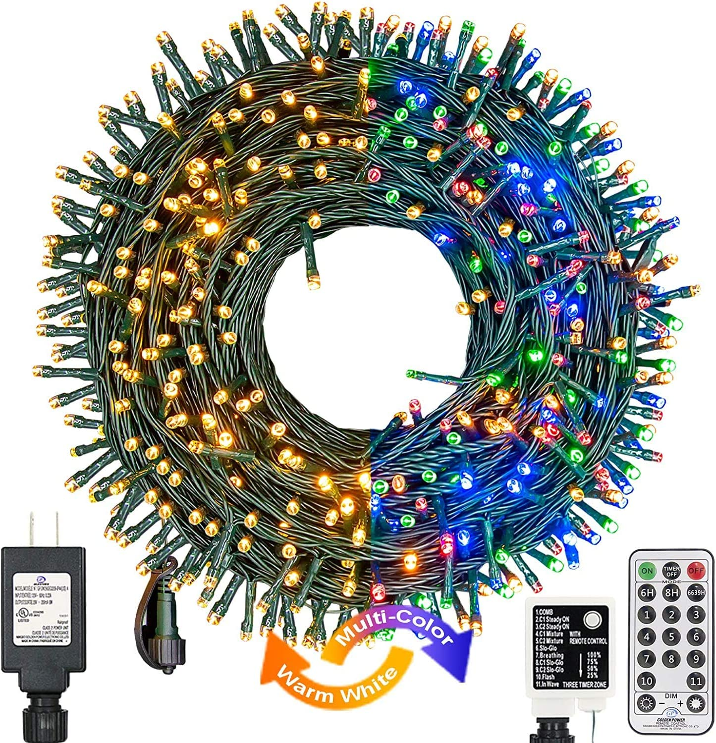 XUNXMAS Color Changing Christmas String Lights Indoor Outdoor 11 Modes, 109ft 300 LEDs Warm White Multi Color Fairy Lights, Connectable Waterproof Christmas Tree Lights with Timer Remote (Green Wire)