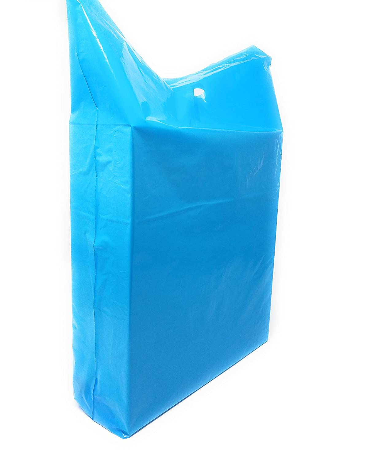 Color Blue Die Cut Handles 100 Pack 15 x 18 1.25 mil Thick Blue Merchandise Plastic Shopping Bags Parties 2 in Gusset Perfect for Retail Party Favors Birthdays 100/% Recyclable