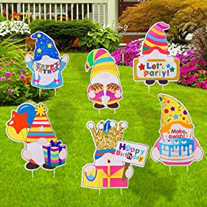 """Mirooyu Happy Birthday Yard Sign Decorations - 6Pcs Gnomes Birthday Decoration with Stakes, 13"""" Board Gnome Sign for Birthday Outdoor Backyard Lawn Decor"""