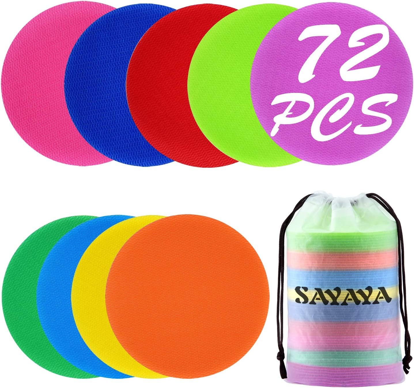 72 Pieces Carpet Markers 4 Inch Floor Sit Markers Carpet Spot Markers Rug Squares Circles Dots for Gym Classroom Preschool Kindergarten Elementary Teachers 6 Colors