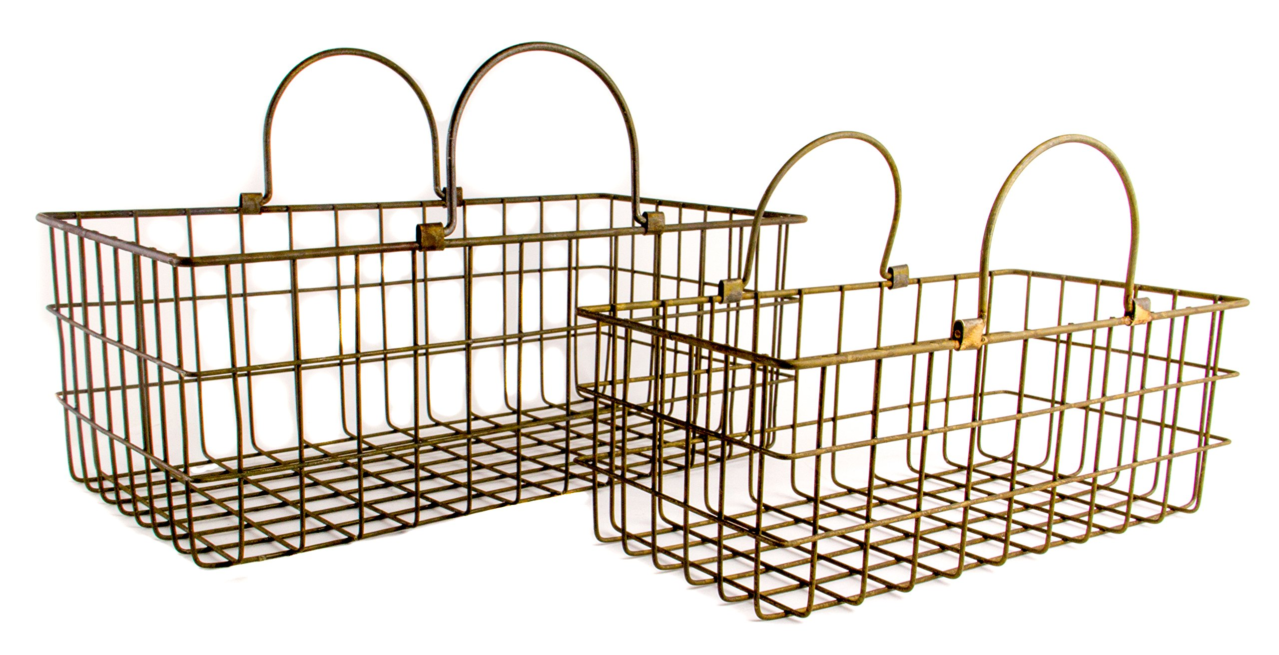 Rectangular Metal Country Style Basket with Handles, Set of 2 - Small and Large