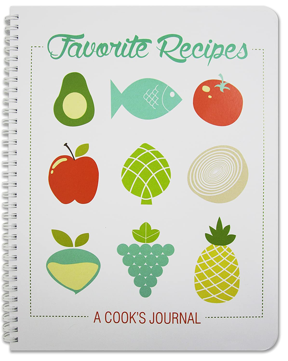 "BookFactory Recipe Book / Recipe Journal / Notebook / Blank Cook Book - 150 Total Recipe Pages (8 1/2"" X 11"") 75 Individual Recipes, Translux Cover, Wire-O Binding (JOU-150-7CW-A(Recipe Journal))"