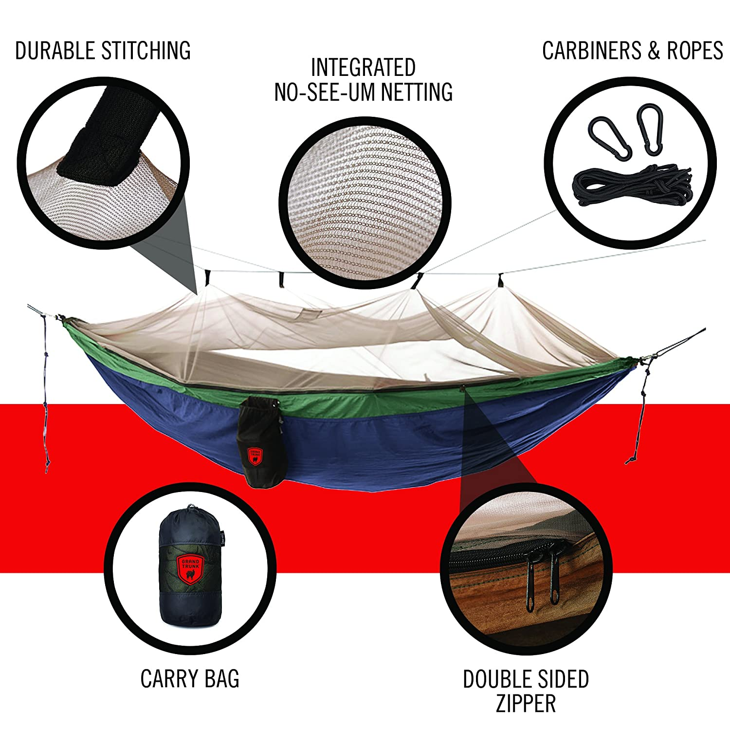 Grand Trunk Skeeter Beeter Pro Mosquito Hammock: Portable Bug Prevention  Hammock With Carabiners And Hanging