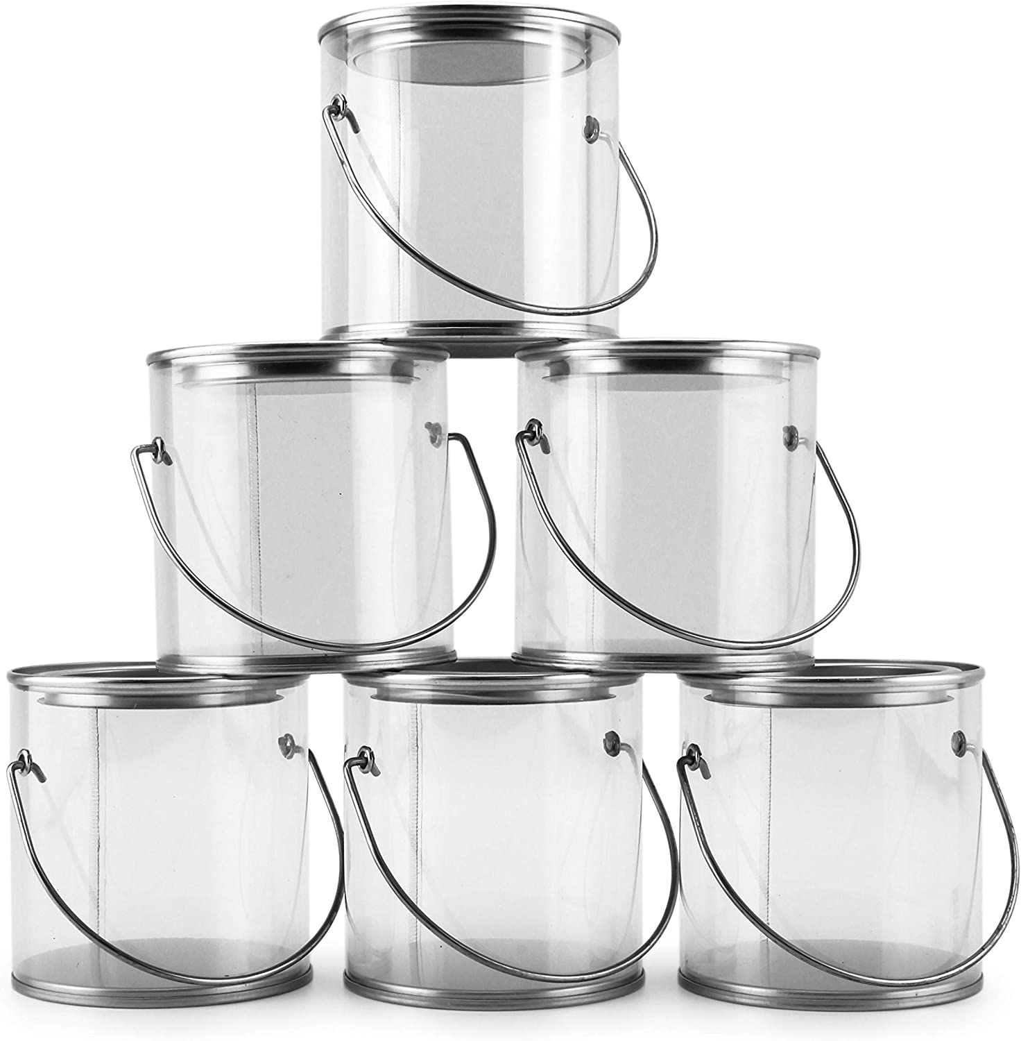 Mini Clear Plastic Paint Cans (6-Pack), 3-Inch Tall