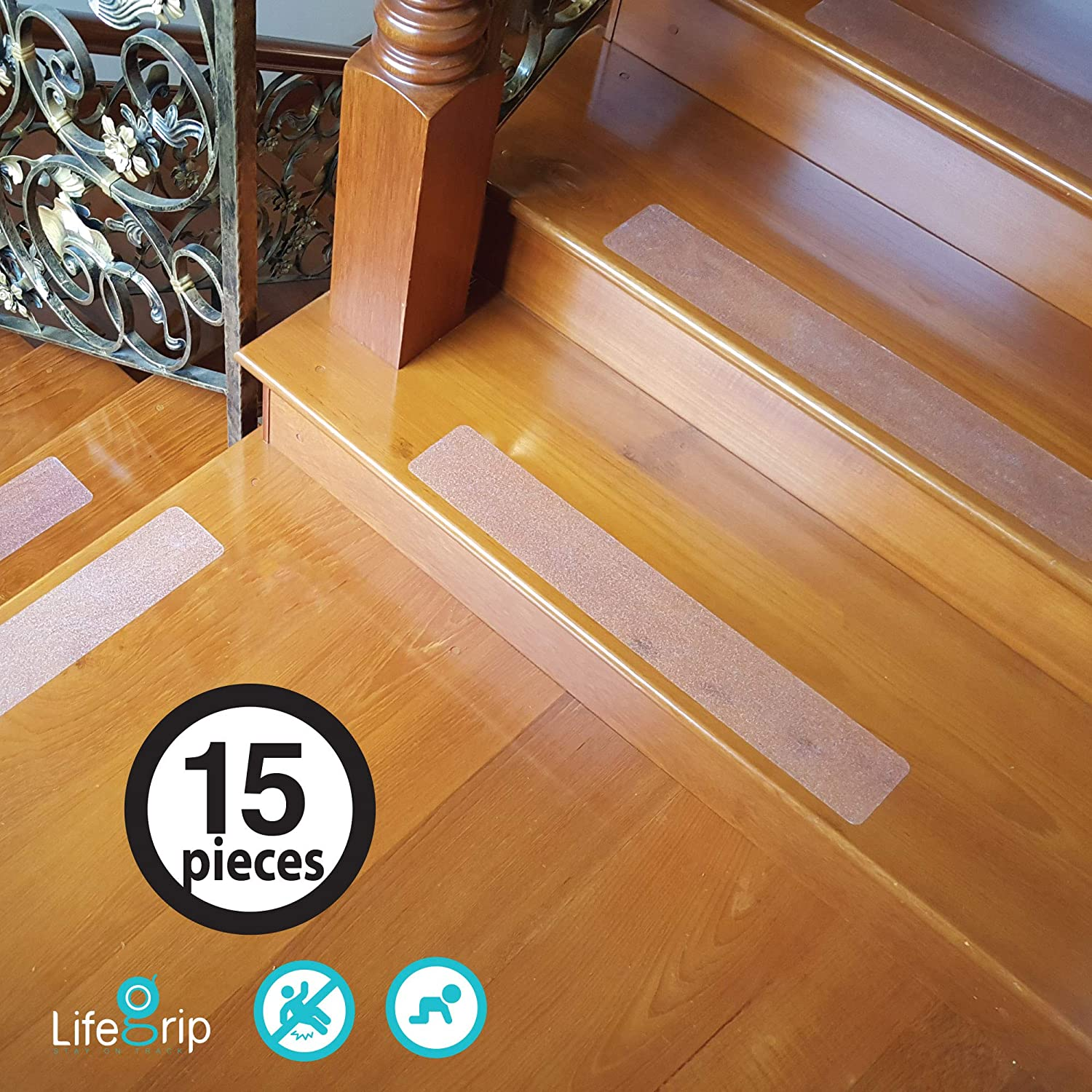 15Pieces LifeGrip Anti Slip Safety Stair Treads Non Slip Tape 4 X 28 Soft for Bare Foot Clear