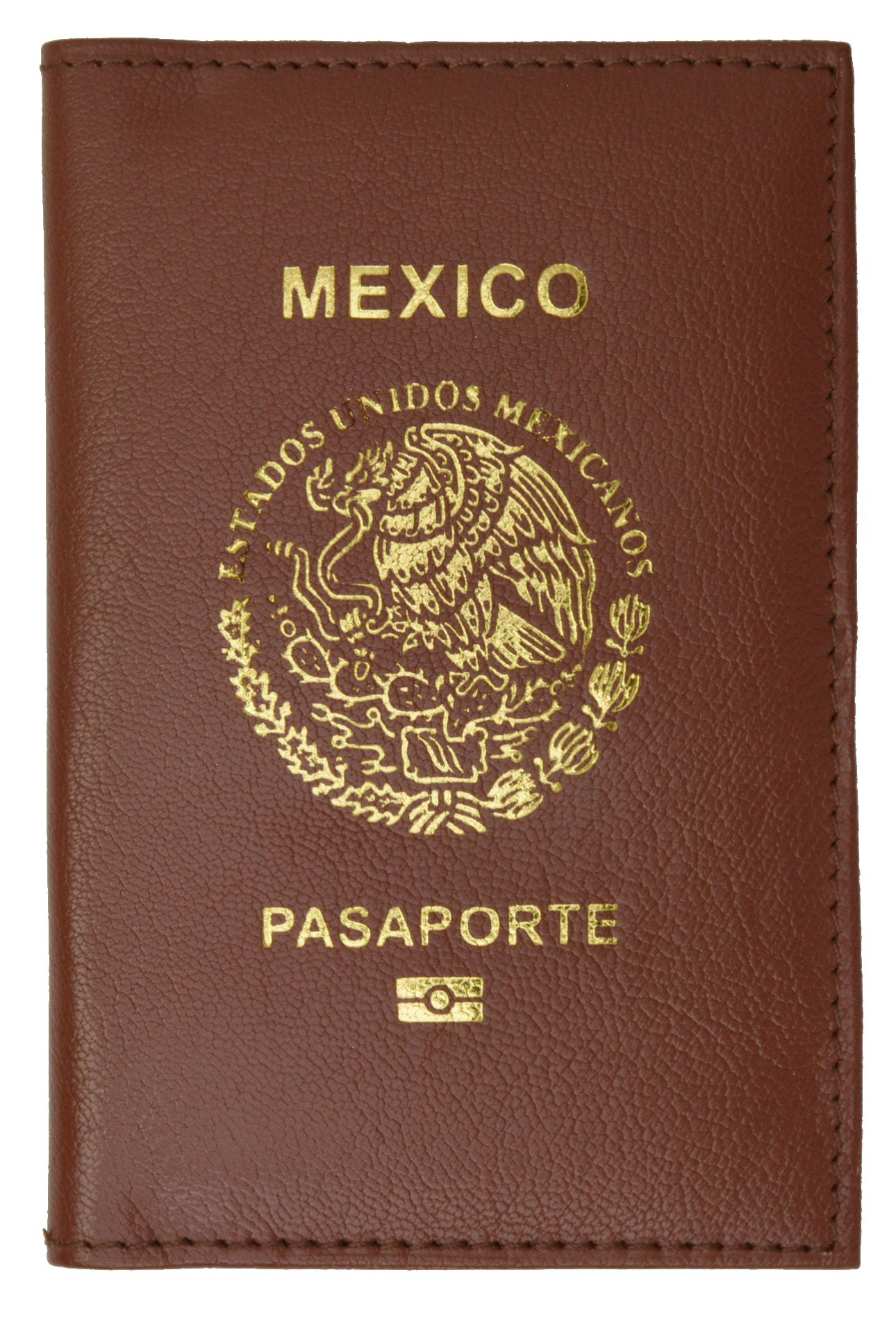 Mexico Passport Cover Genuine Leather Travel Wallet with Emblem Pasaporte (Burgundy)