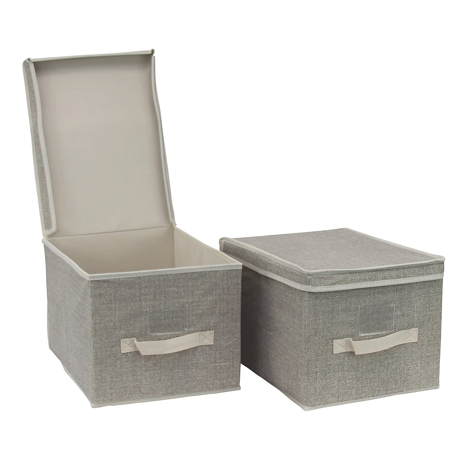 Wardrobe organiser storage box, collapsible with lid and label holder, pack of 2, Large