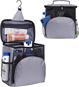 Shower Caddy Tote Bag, Toiletry Bag for Men and Women, Large Capacity Multiple Pockets Bathroom Caddy, Multiple Uses Shower Tote Bag for College Dorms, Gym, Camp (Gray)