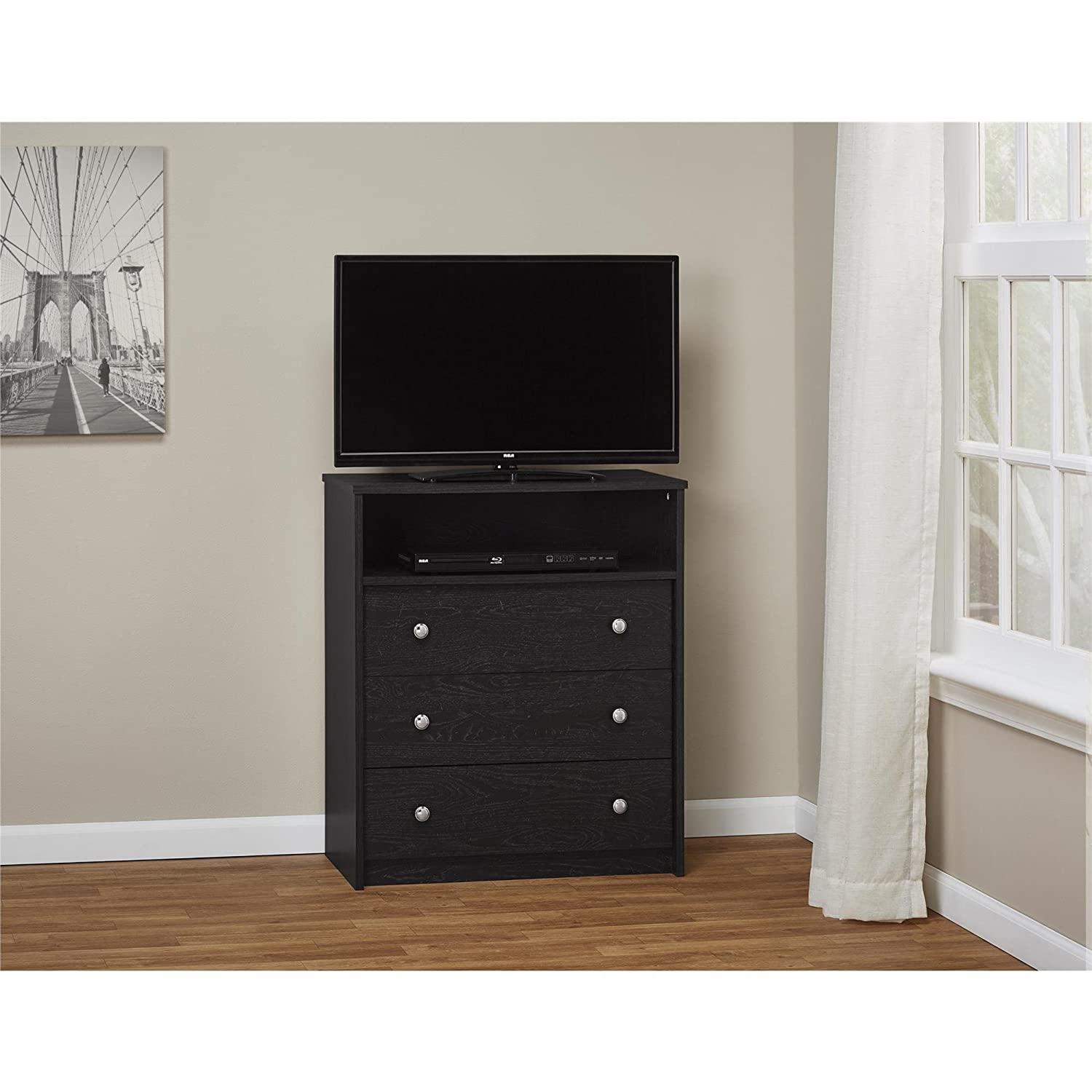 Amazon.com: Essential Home Belmont Highboy TV Stand   Black: Kitchen U0026  Dining