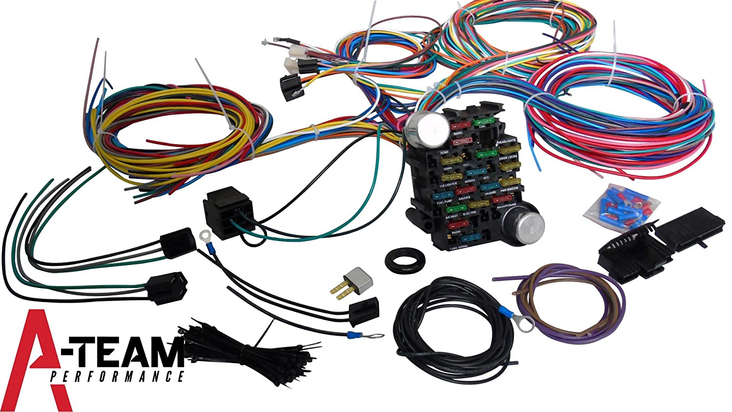 Amazon.com: A-Team Performance 21 Standard Circuit Universal Wiring Harness  Kit Muscle Car Hot Rod XL Wire: Automotive