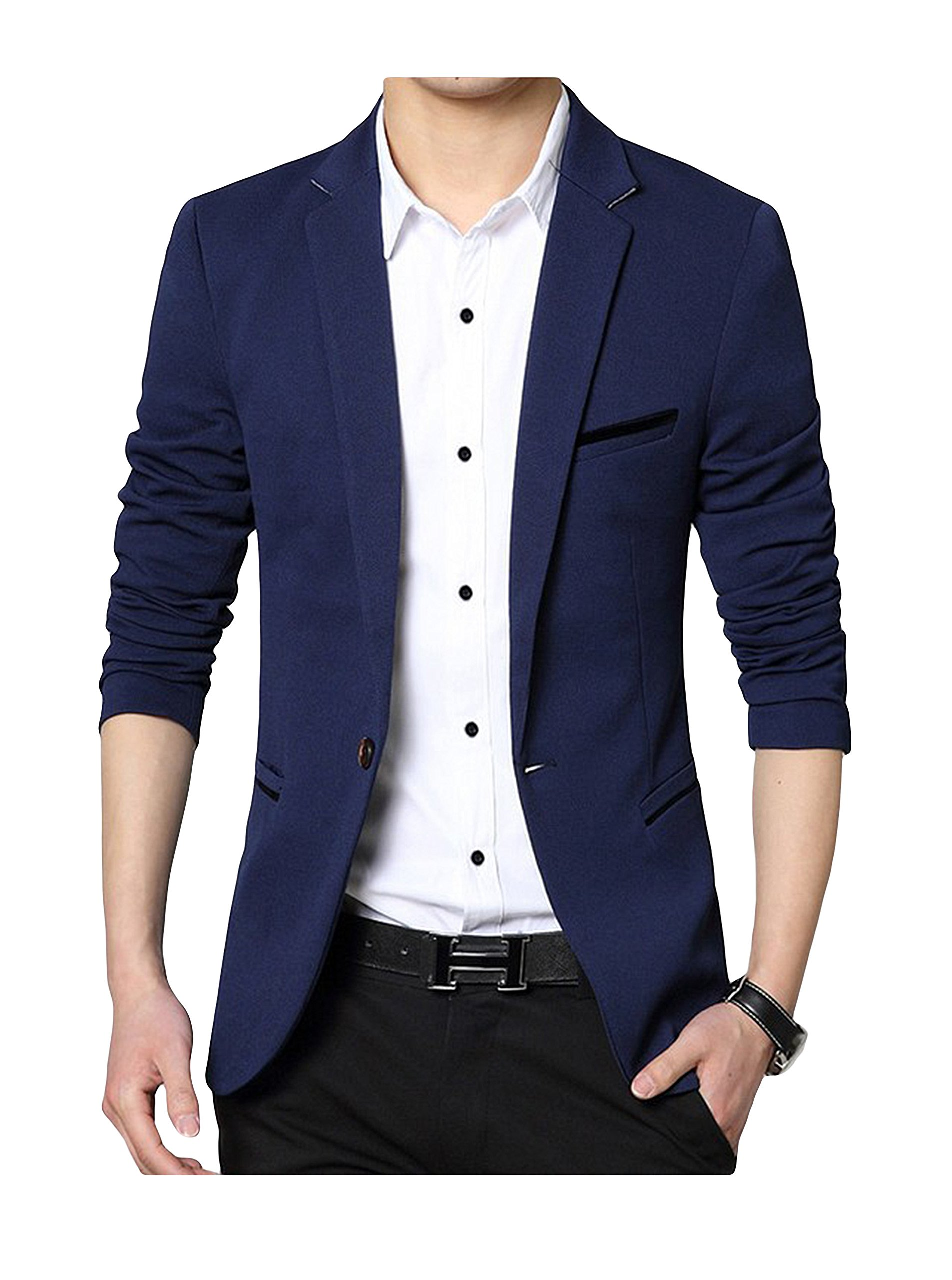 GEEK LIGHTING Men's Fashion Casual Long Sleeve Slim Office Blazer Navy US Large/Label 4X-Large