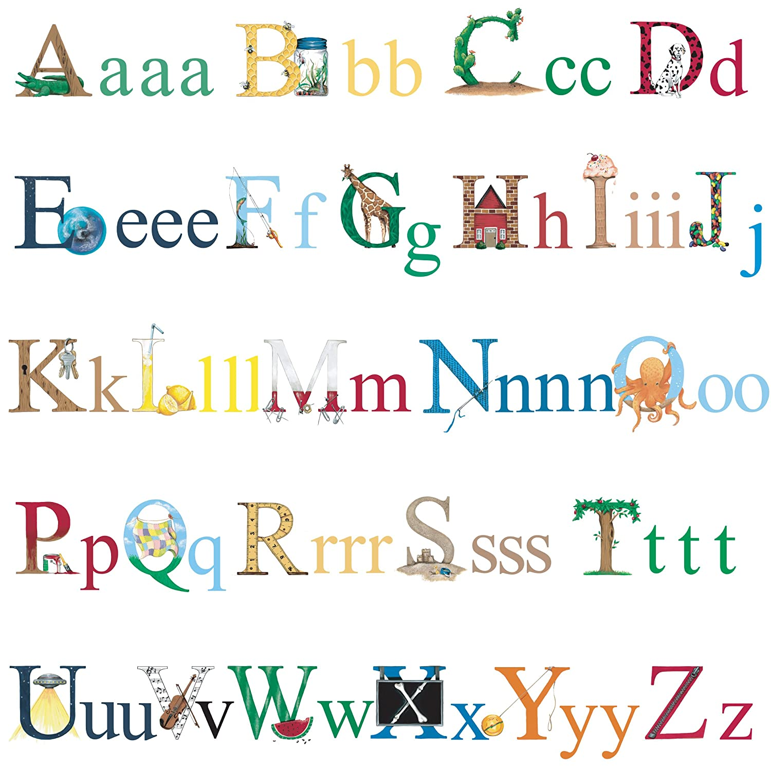RoomMates Repositionable Childrens Wall Stickers Alphabet RMK1029SCS