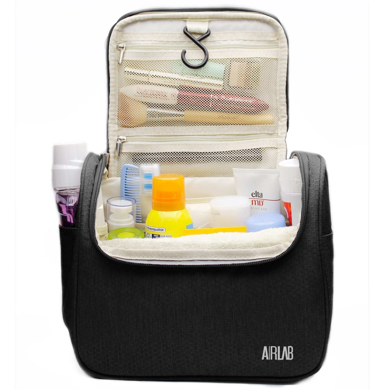 861ffe1ce782 Hanging Toiletry Bag, Airlab Large Cosmetic Bag with Handle and Hook,  Travel Toiletry Organizer for Men and...