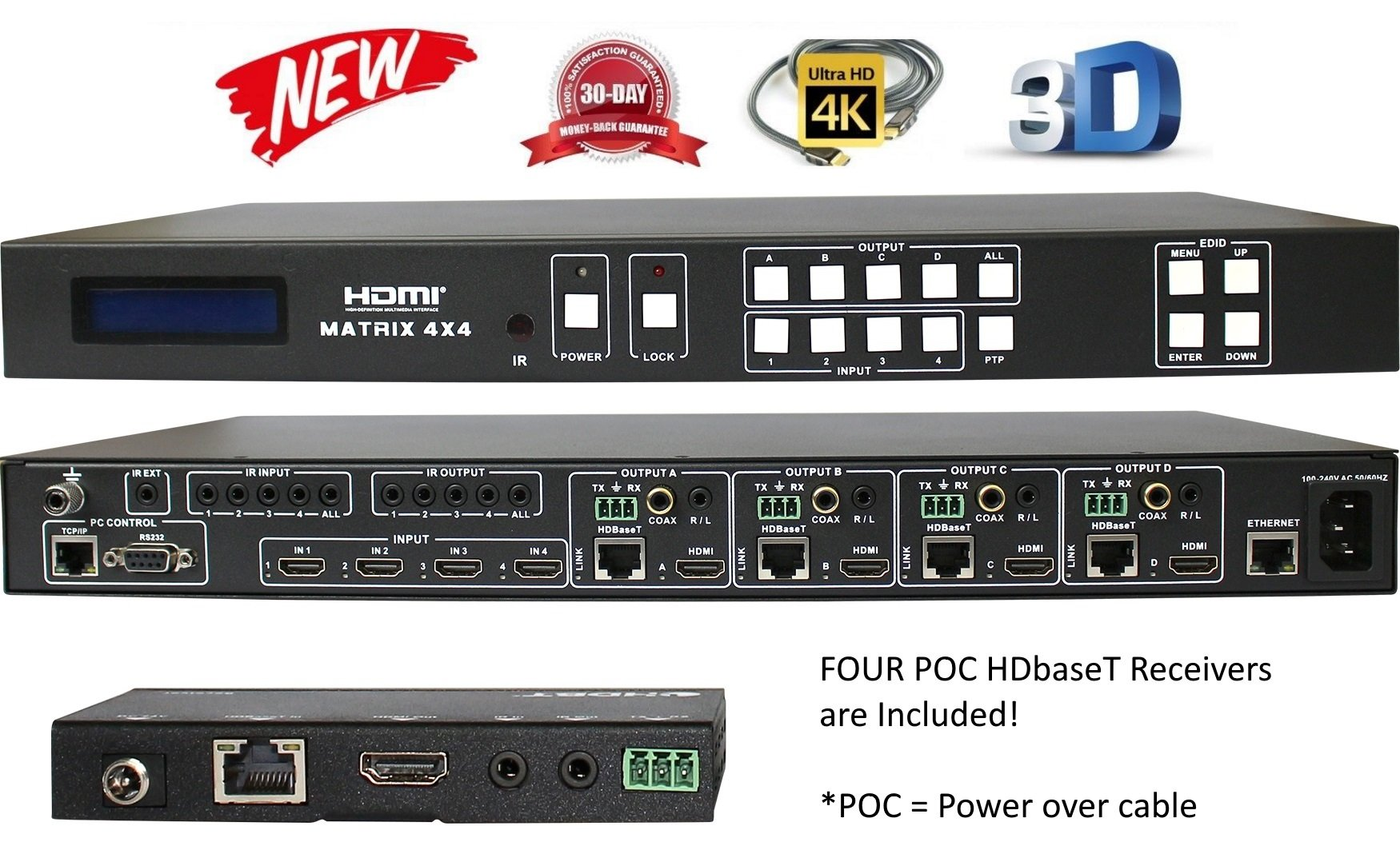 4x8 4x4 HDbaseT 4K HDMI MATRIX SWITCHER w/ FOUR PoC RECEIVERS (CAT5e or CAT6). HDCP2.2 HDTV ROUTING SELECTOR SPDIF AUDIO CRESTRON CONTROL4 SAVANT HOME AUTOMATION