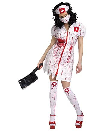 e65f49f480ef0 Cursed Zombie Nurse Ladies Halloween Fancy Dress Undead Horror Adult Costume:  Amazon.co.uk: Clothing