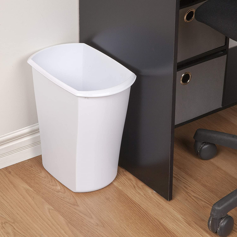 Amazon Com Sterilite 10518006 3 Gallon Rectangular Wastebasket White 6 Pack Home Kitchen