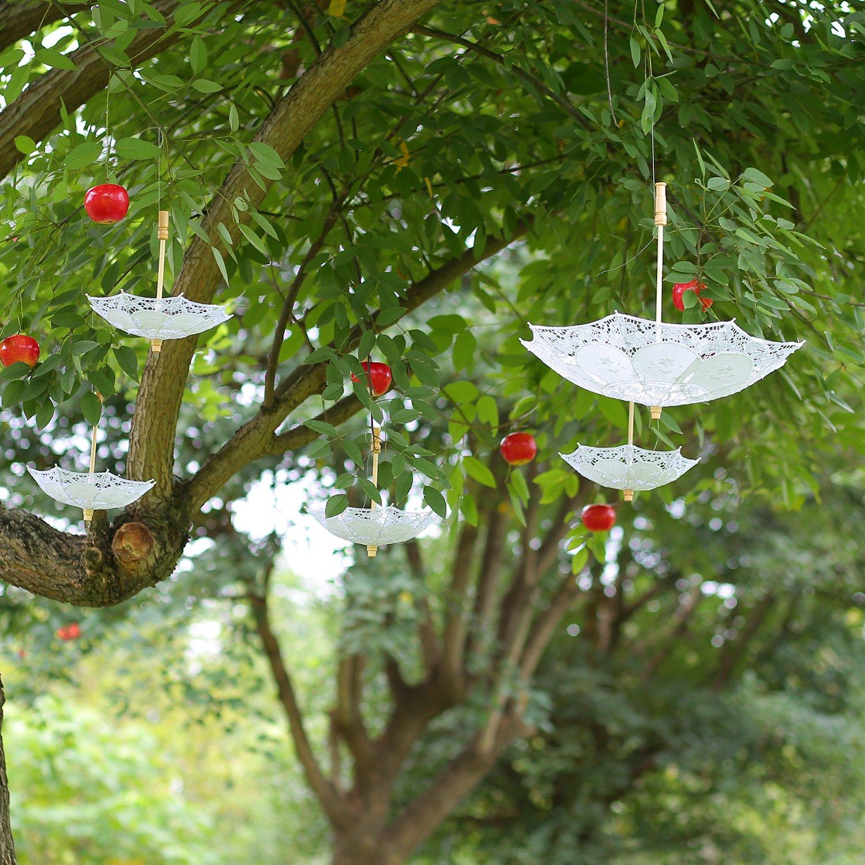 E SELECT Lace Umbrella, Wedding Party Decoration for Romantic Bridal Photograph (white-38 inches)