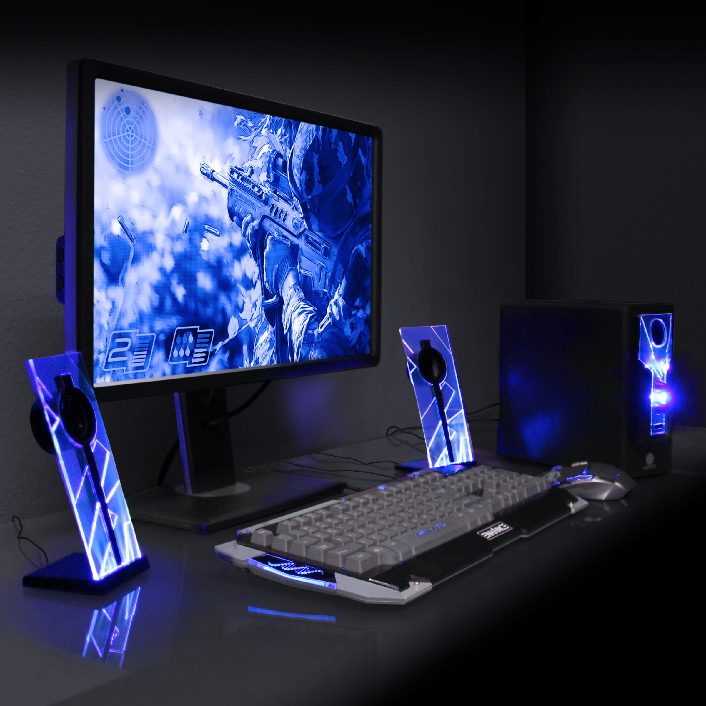 GOgroove BassPULSE 2.1 Computer Speakers with Blue LED Glow Lights and Powered Subwoofer - Gaming Speaker System for Music on Desktop, Laptop, PC with 40 Watts, Heavy Bass by GOgroove (Image #4)