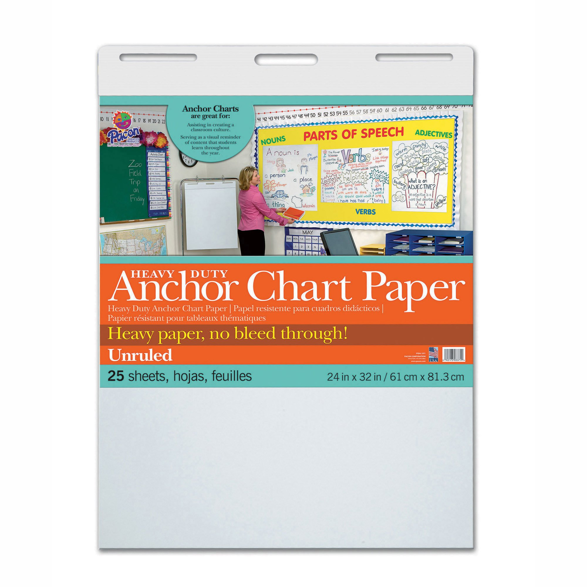 Pacon PAC3371 Heavy Duty Anchor Chart Paper, Unruled, 24'' Width, 32'' Length, 25 Sheets (Pack of 25)