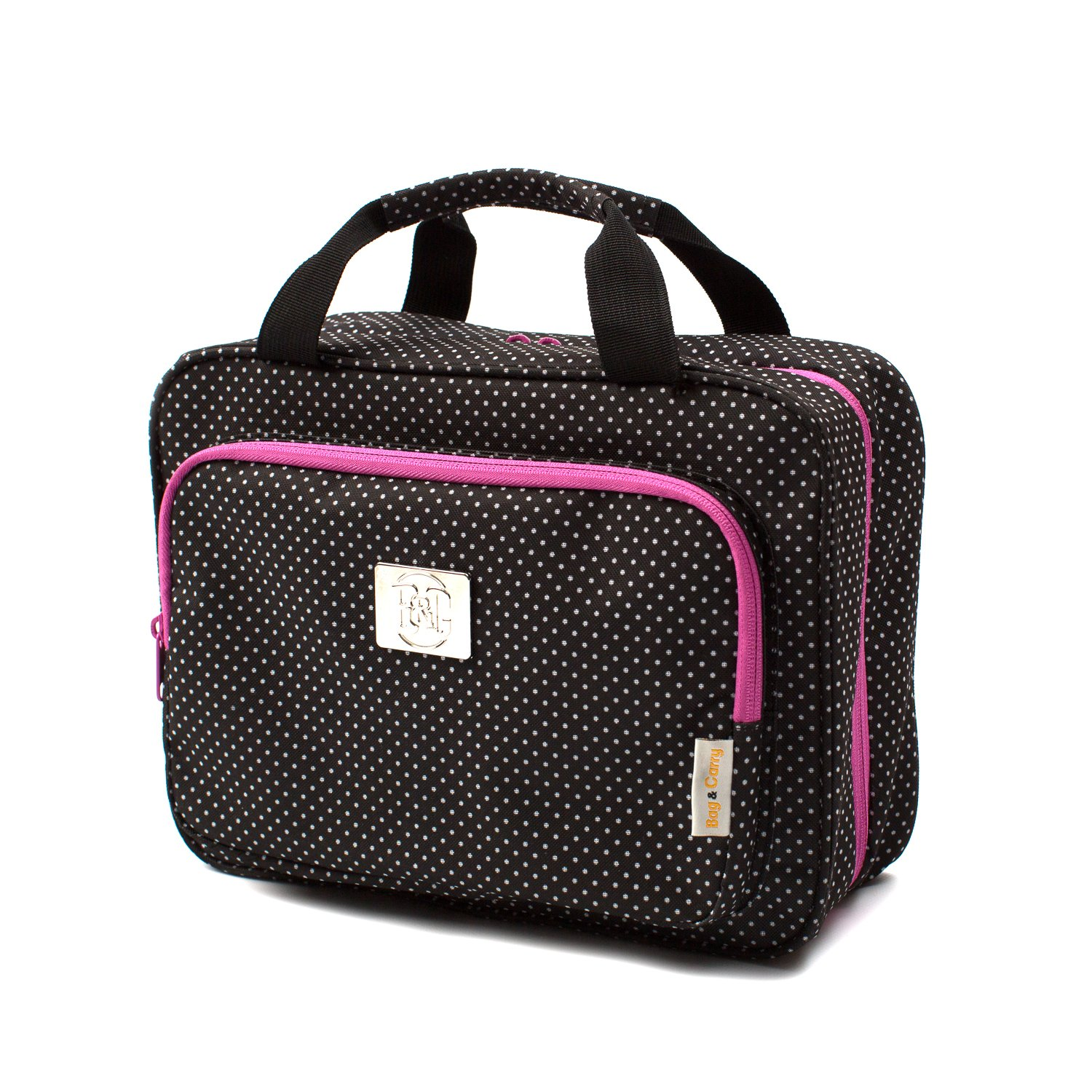 Large Travel Cosmetic Bag For Women - Hanging Travel Toiletry And Makeup Bag With Many Pockets Polka Dot