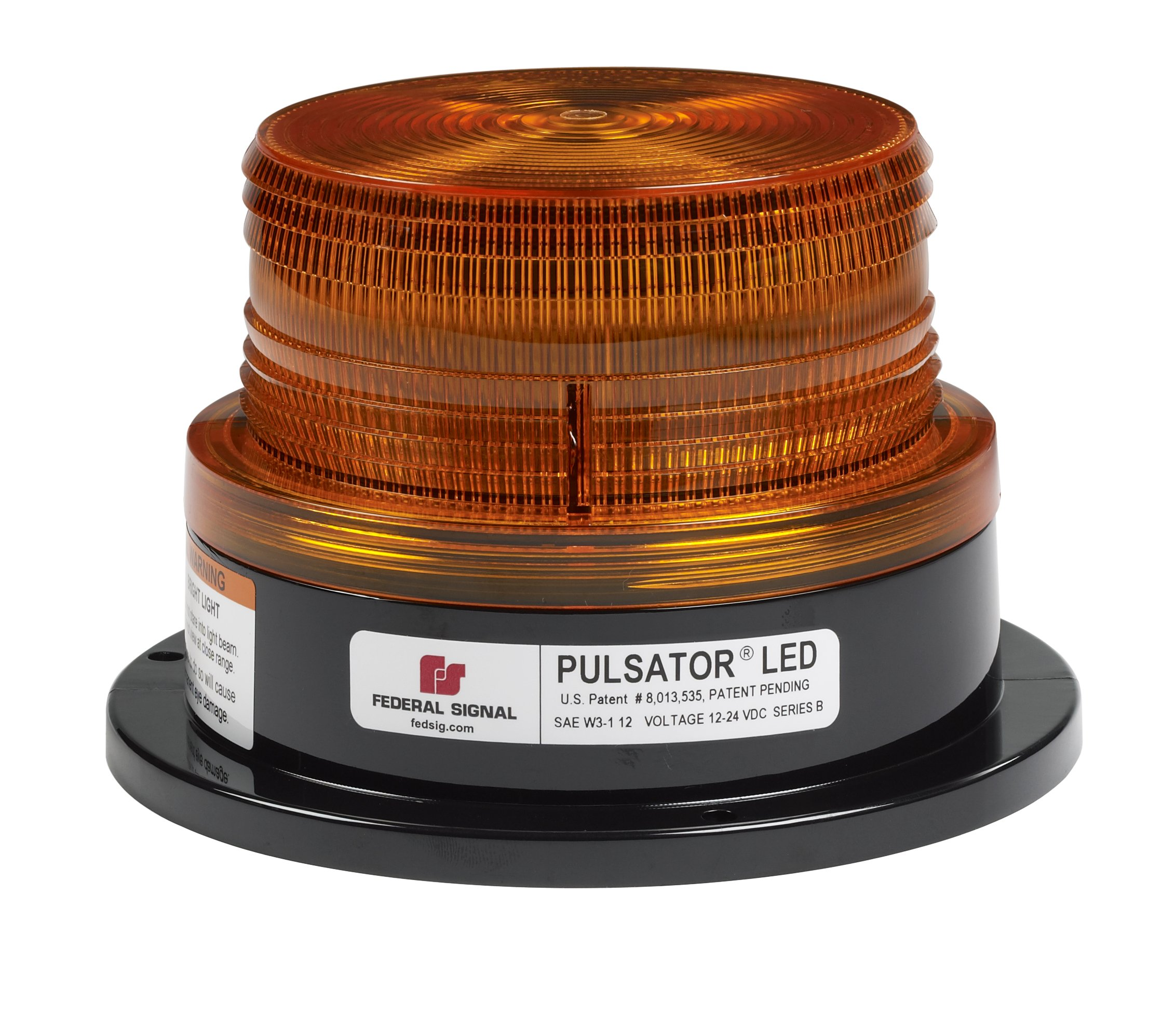 Federal Signal 212674-02SB Class 2 Pulsator 451 LED Beacon, Suction-Cup Magnetic Mount with Cigarette Plug, Short Dome, Amber