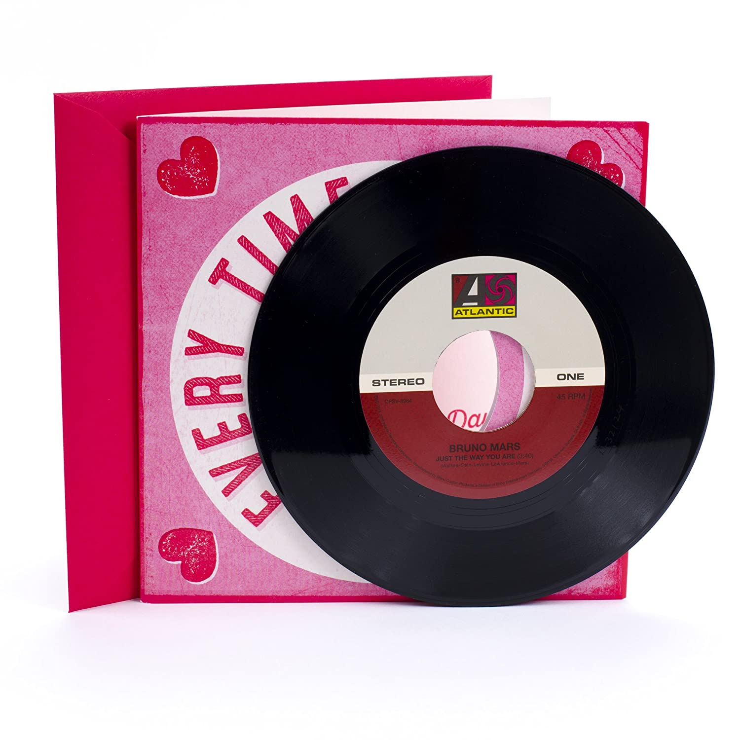 Amazon hallmark valentines day card with vinyl record real amazon hallmark valentines day card with vinyl record real bruno mars 45 record and 2 songs office products m4hsunfo
