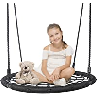 """SUPER DEAL Largest 48"""" Web Tree Swing Set - Extra Large Platform - 360 Rotate°- Adjustable Hanging Ropes - Attaches to Trees or Existing Swing Sets - for Multiple Kids or Adult"""