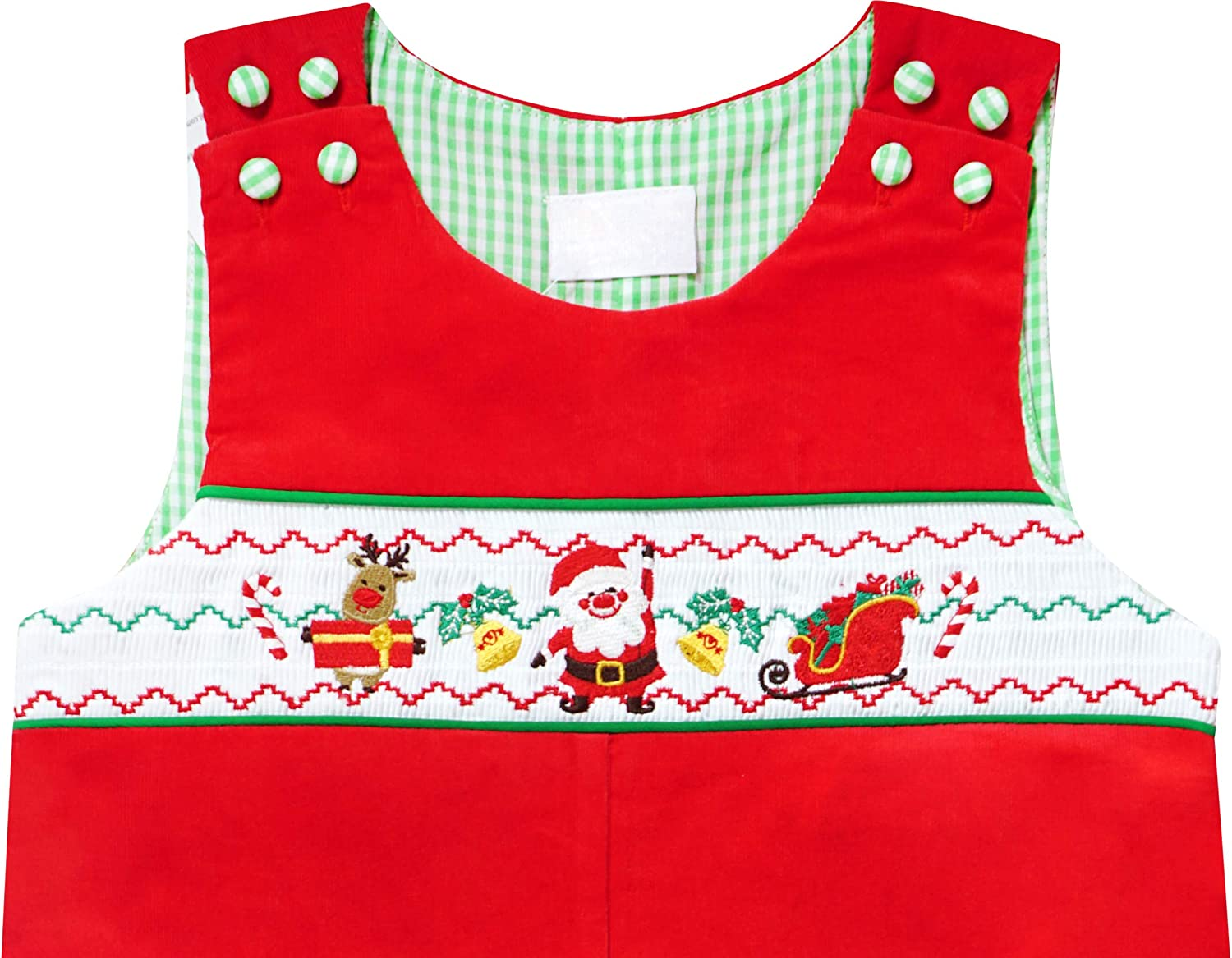 Baby Infant Toddler Boys Christmas Holidays Santa Reindeer Tree Faux-Smocked or Appliqued Longalls Rompers