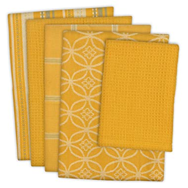 DII Cotton Oversized Kitchen Dish Towels 18 x 28  and Dishcloth 13 x 13 , Set of 5 , Absorbent Washing Drying Dishtowels for Everyday Cooking and Baking-Mustard