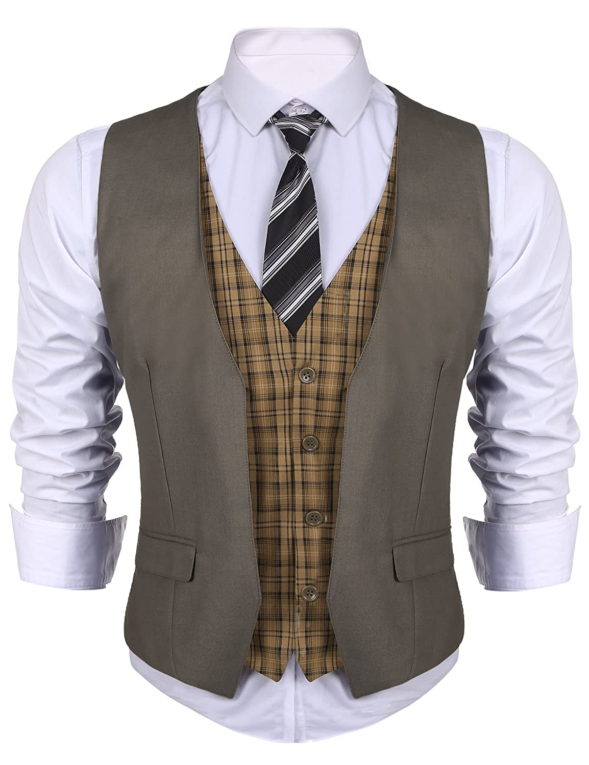 Men's Steampunk Vests, Waistcoats, Corsets COOFANDY Mens Business Suit Vest layered Plaid Dress Waistcoat for Wedding Date Dinner $31.99 AT vintagedancer.com