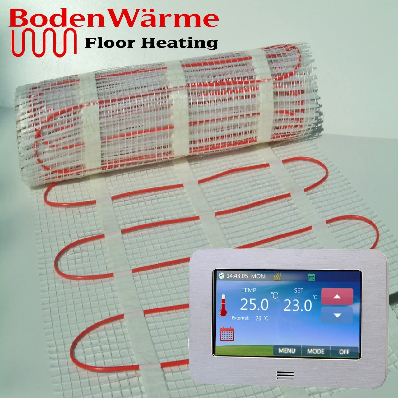 4.0m/², Digital Thermostat Thermostat *All Sizes* BodenW/ärme Premium Quality Electric Dual Core Under Tile Heating Underfloor Heating Mat 200w //m/²