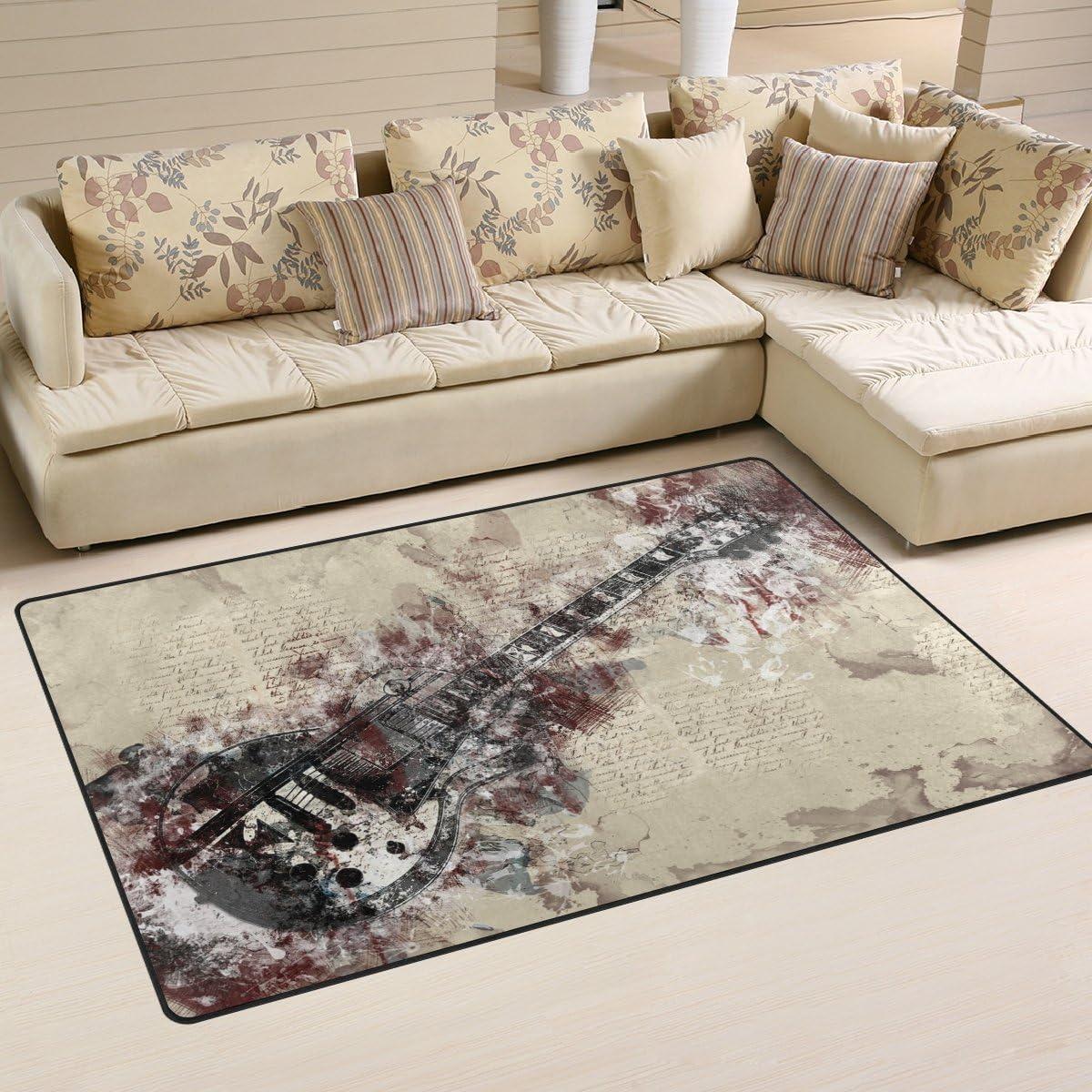 LORVIES Guitar Print Area Rug Carpet Non-Slip Floor Mat Doormats for Living Room Bedroom 60 x 39 inches