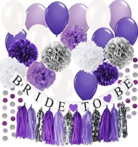 Bridal Shower Decorations Purple White Silver Tissue Pom Pom Bride To Be Banner Purple White Ballons Circle Garland for Bachelorette Party Decorations/Engagement Party /Wedding Shower /Hen Party