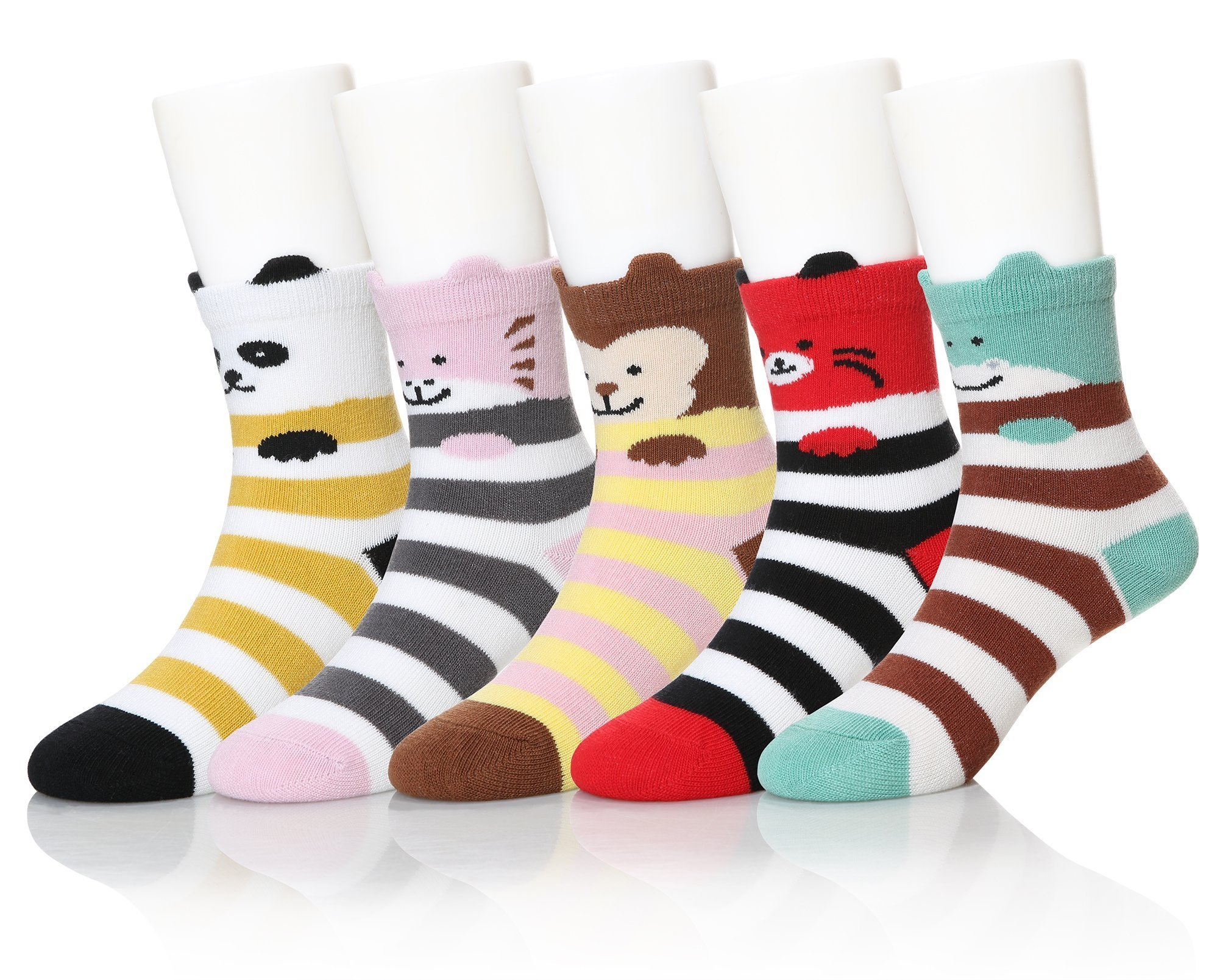 SEEYAN Kids Novelty Cute Cartoon Animals Cotton Ankle Baby Boys Girls Toddler Breathable Socks 5 Pairs (Striped Animal, 3-5)