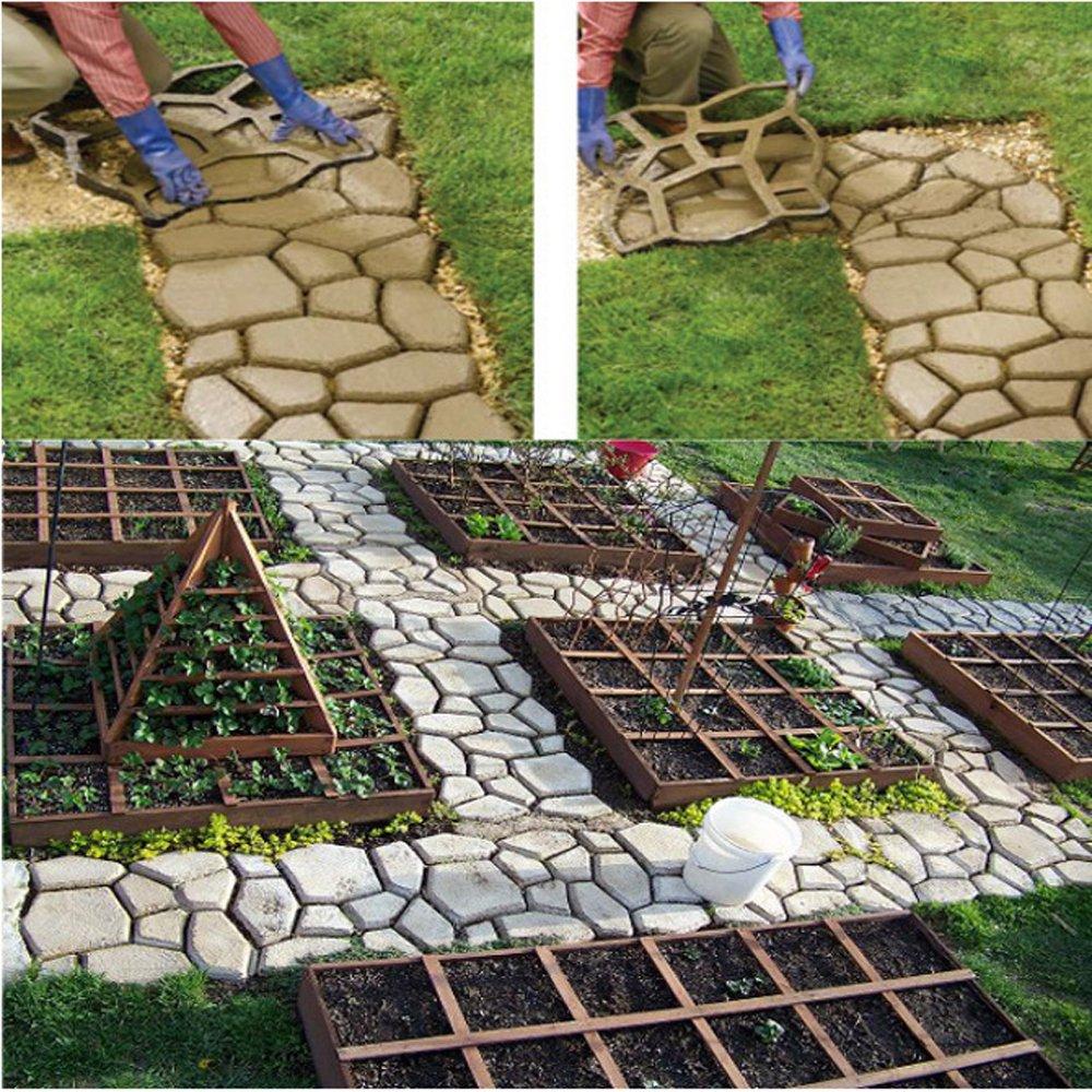 Molde de concreto para acera Leonc, para camino de piedras, acera pavimentada para jardín de césped, patrones irregulares de 45 x 45 x 4 cm, color negro: ...