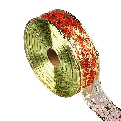 vlovelife 100yardsroll 2 red bling organza ribbon roll for christmas bows shiny - Diy Christmas Bows
