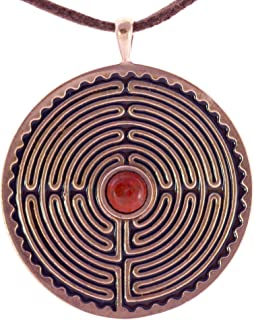 product image for Labyrinth Peace Bronze Pendant Necklace with 6mm Red Jasper Stone on Adjustable Natural Fiber Cors