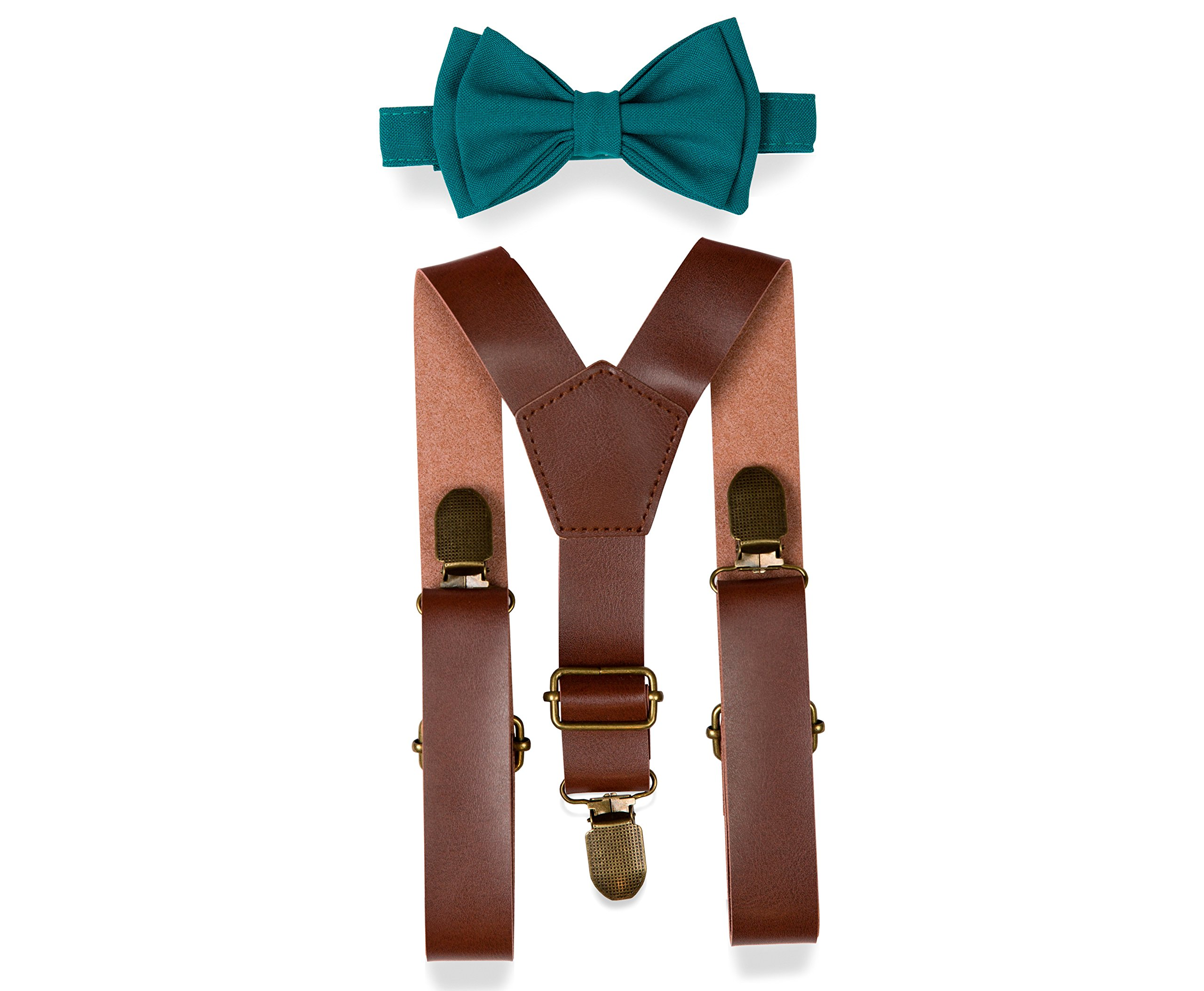 Brown PU Leather Suspenders Bow Tie Combo for Baby Toddler Boy Men (2. Toddler (18 mo - 6 yrs), Brown Leather Suspenders, Teal Bow Tie)