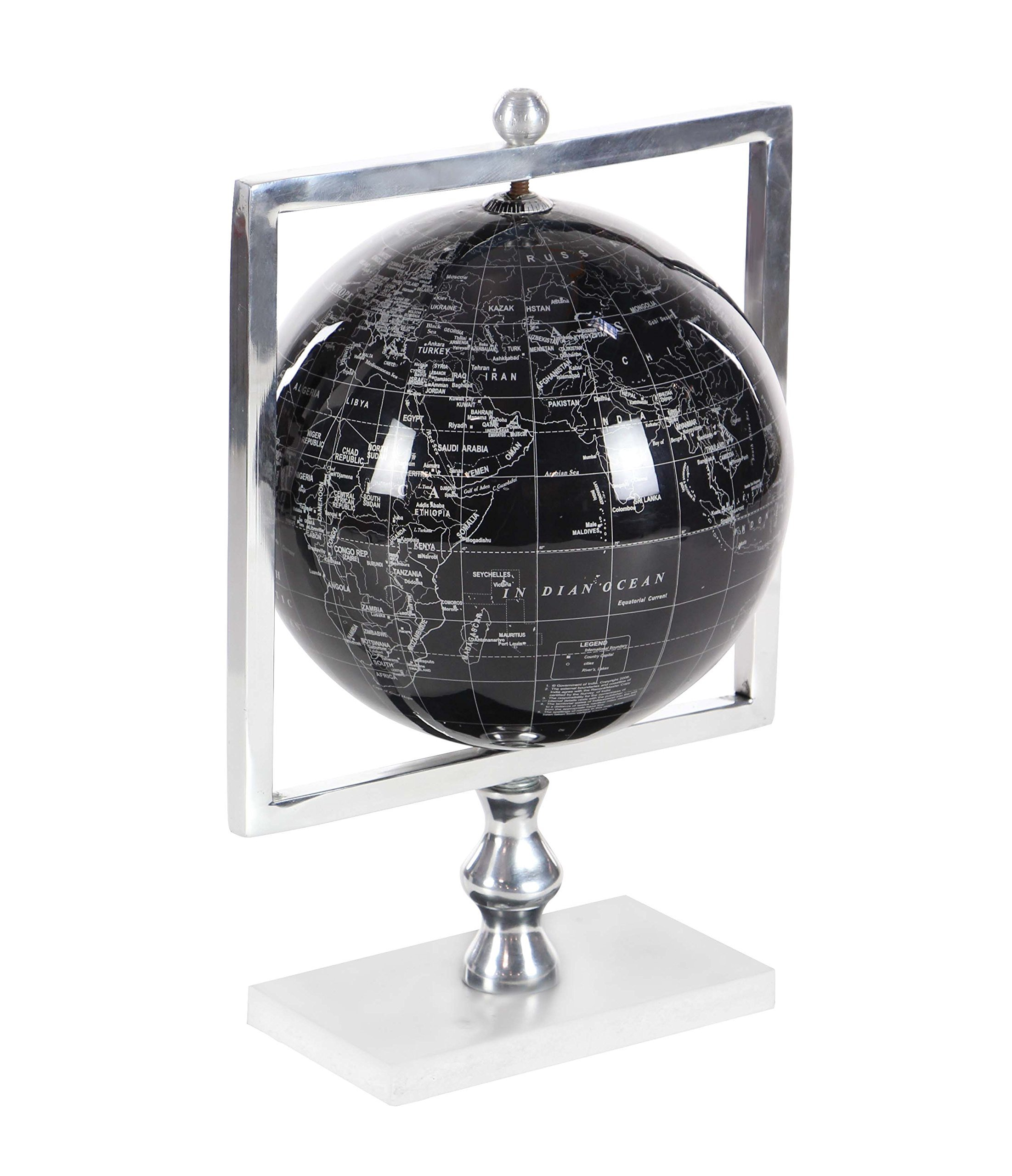 Deco 79 57369 Polished Aluminum, Marble and PVC Decorative Globe, 15'' x 9'', Silver/Black/White