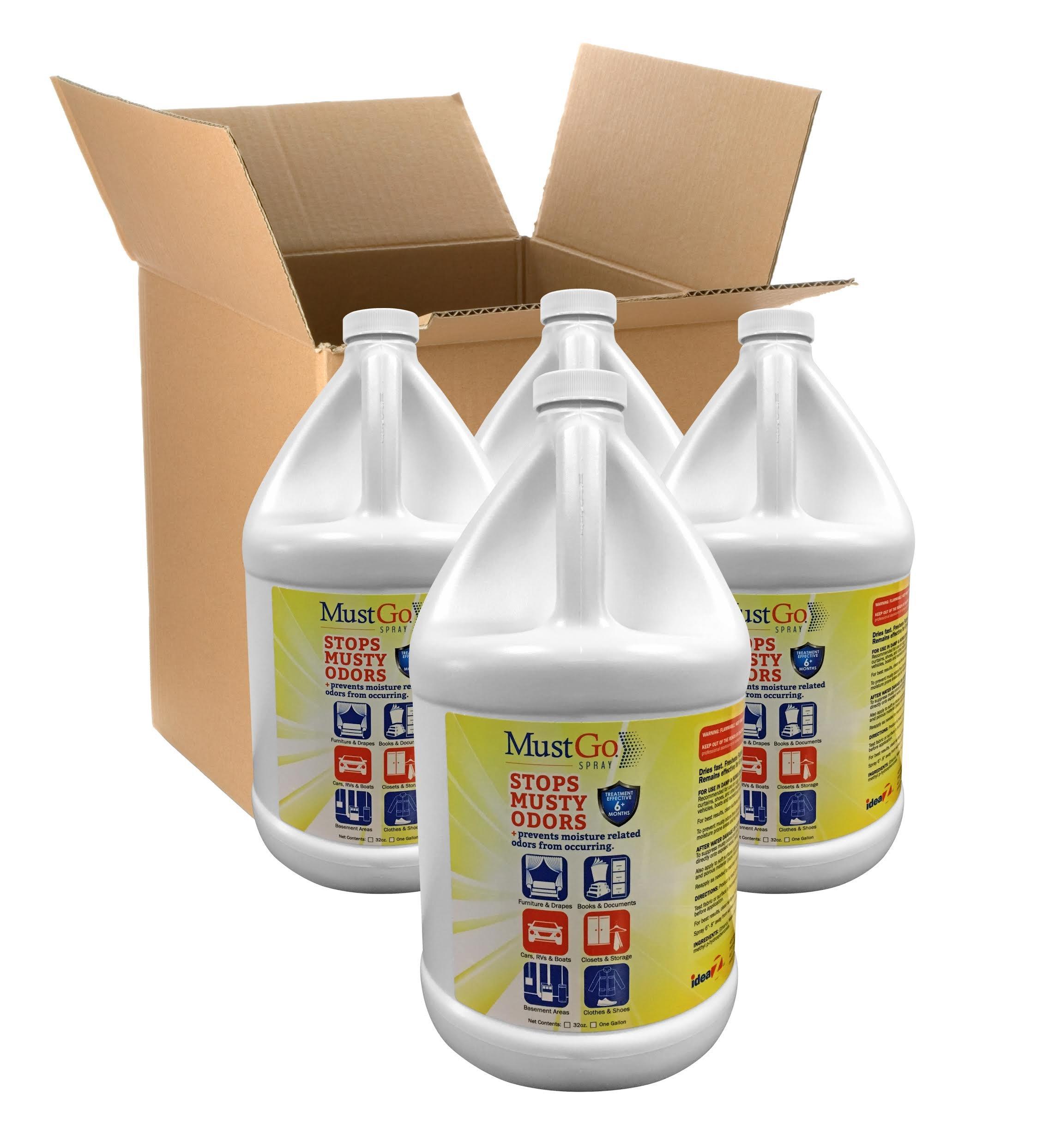 MustGo Odor Eliminator Fabric Spray - Controls and Prevents Damp, Musty, Mildew Odors - Unscented - 4 x 1 Gallon Case