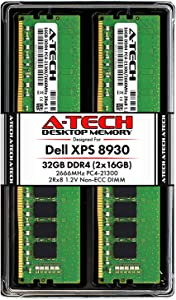 A-Tech 32GB RAM Kit for Dell XPS 8930 Tower - (2 x 16GB) DDR4 2666MHz PC4-21300 Non-ECC DIMM Desktop Memory Upgrade