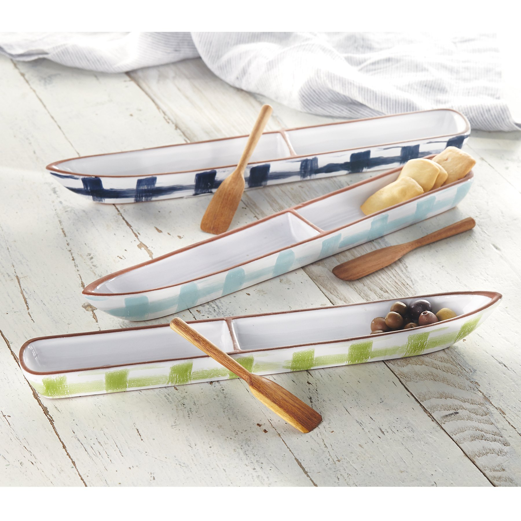 Mud Pie Canoe Shaped Section Cracker Dish Set, Blue by Mud Pie (Image #3)