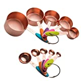Copper Stainless Steel Measuring Cups and Spoons Set of 10 – Liquid Measuring Cups and Liquid Measuring Spoons or Dry Measuring Cups and Dry Measuring Spoons – Stackable, Nesting Measuring Cups Set
