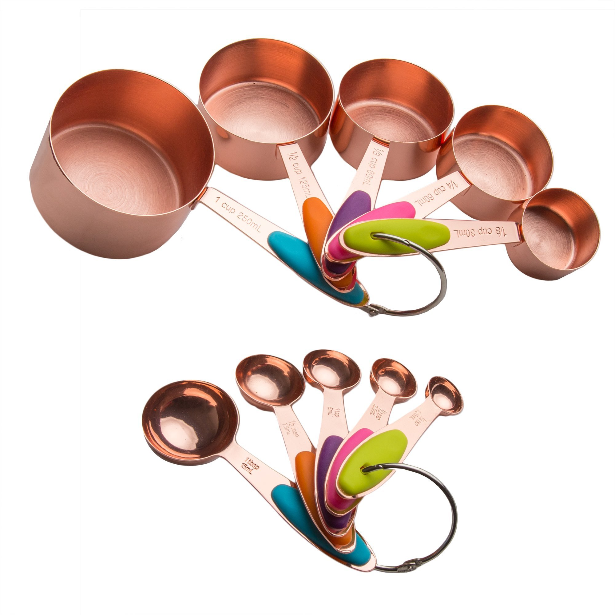 Copper Stainless Steel Measuring Cups and Spoons Set of 10 | Liquid Measuring Cups and Liquid Measuring Spoons or Dry Measuring Cups and Dry Measuring Spoons | Stackable, Nesting Measuring Cups Set