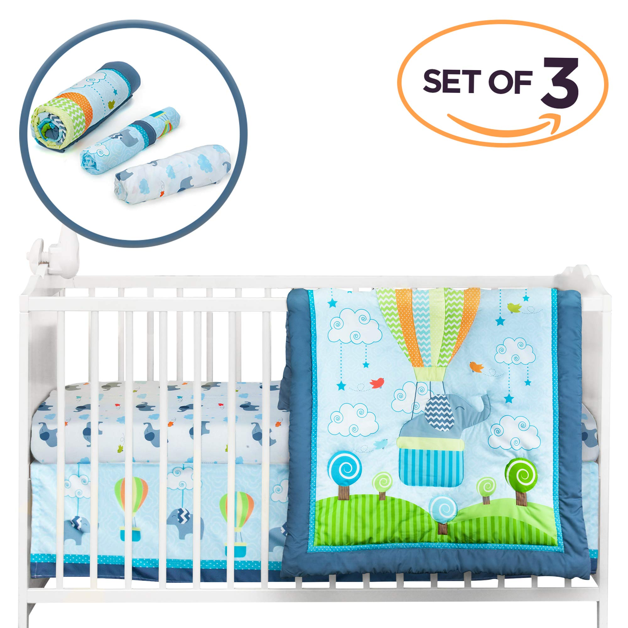 Cocoon Luxurious Elephant Baby Crib Bedding Sets for Boys - Let Your Little One Sleep Like an Angel - Organic Cotton Nursery Set Including Fitted Sheet, Comforter & Crib Skirt (Set of 3)